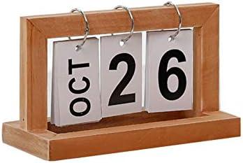 Ruiting Tischkalender Holz Shabby Flip-Kalender Flip-Ring Kalender 2019 Ewiger Kalender Braun 1 Stück
