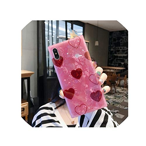 Floral Fusion Square (Square Conch Shell Phone Case for iPhone X Xs Xr Xs Max 6 6S 7 8 Plus Pink Green Love Heart Mobile Phone Case,2,for iPhone Xs Max)