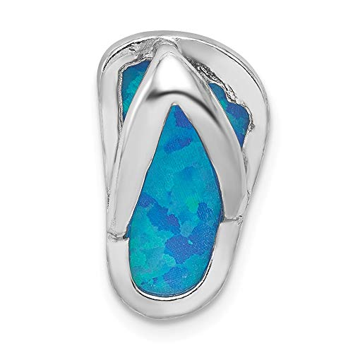925 Sterling Silver Created Blue Opal Flip Flop Slide Necklace Pendant Charm Chain Fine Jewelry Gifts For Women For Her