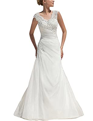 Danadress Women's Organza Appliques Beaded Wedding Dresses Long Bride Gowns 50