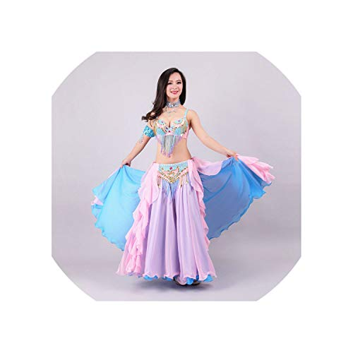 Belly Dance Costume 3 pcs Outfits Bra&Belt &Skirt Belly Dance Beaded Clothes,Blue Pink,L -