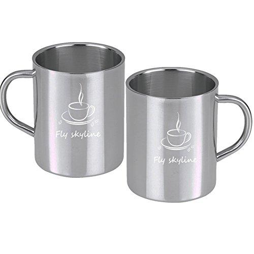 Coffee Mugs Stainless Steel Double Wall Insulated Coffee Mug Food Grade Tea Cups 14.7-Ounce(Set of 2 )