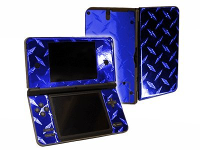 Nintendo DSi XL Color Skin (DSi-XL) - NEW - BLUE DIAMOND PLATE MIRROR system skins faceplate decal - Diamond Protector Faceplate