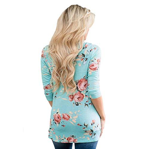 Mode Di Shirts Blau Marca Tops Lunga Magliette Manica Donna Stampa Prodotto Camicetta Elegante Plus Fiore Primaverile neck Vintage Autunno V Festivo fn8qRY0qUw