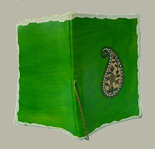 M&N Paisely Screen Printed Deckle-Edge Handmade Leather Journal, Dairy, Notebook, Green Color