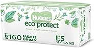 Huggies Eco Protect Pañal Desechable para bebé, Unisex, Etapa 5, Caja con 160 Pañales Desechables, Ideal para