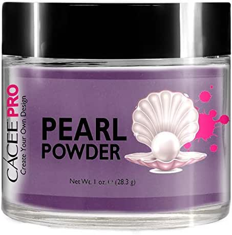Acrylic Powder for Nails, Pearl Color Nail Art, 1oz Jar by Cacee, For Professional Acrylic Nail Kit, Premix of Pigments, Pearlescent & Metallic Effects (Grape Purple #38)