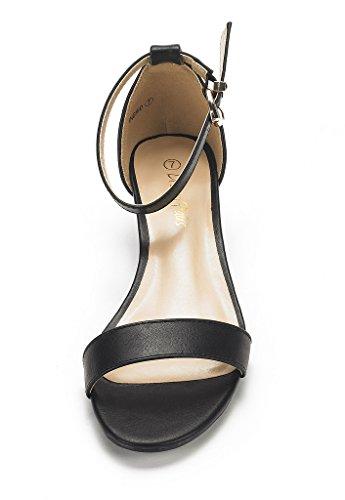 DREAM PAIRS Womens Ingrid Ankle Strap Low Wedge Sandals Black Pu 8maZU9no