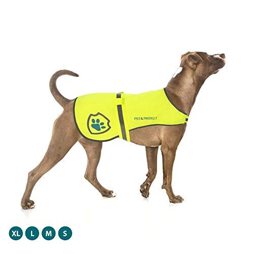 Pet & Protect Premium Dog Reflective Vest (Neon) High-Visibility Safety | Walking, Jogging, Training | Sizes to fit Small, Medium, Large Breeds 16-130 lbs. (X-Large)