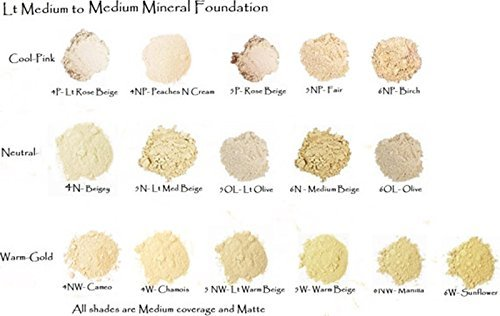 De'esseBoutique Mineral Foundation Lightest Shades - Porcelain Through Ivory (6 Shade Sampler Pack Level 3-4 Warm)