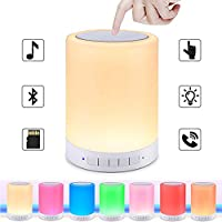 BARISC Touch Control Night Lamp with Bluetooth Speaker, Portable Wireless Music Player with Bedside/ Table/ Outdoor Color Changing Dimmable LED Lights, Metal Handle/ TF Card/ AUX-IN Supported