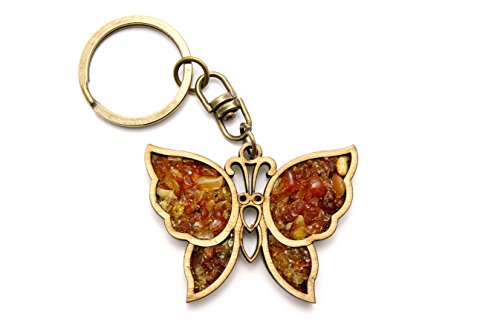 Keychain / Keyring Made of Natural Wood and Filled with Genuine Amber (Butterfly Design Keychains)