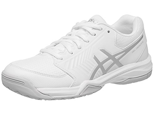 ASICS Women's Gel-Dedicate 5 Tennis Shoe, White/Silver, 8.5 M US