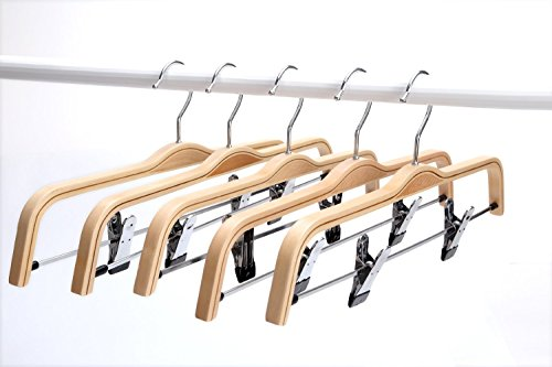 Light Bamboo Hangers, Sturdy Wood Pants Hangers, Wooden Clothes Hangers with Polished Hooks and Clips, 5-Pack