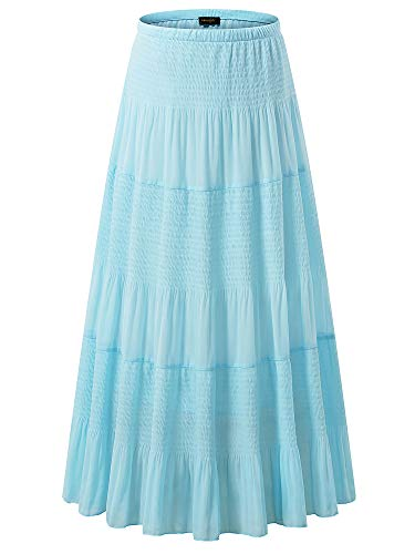 NASHALYLY Women's Chiffon Elastic High Waist Pleated A-Line Flared Maxi Skirts (S, Light Blue-1)