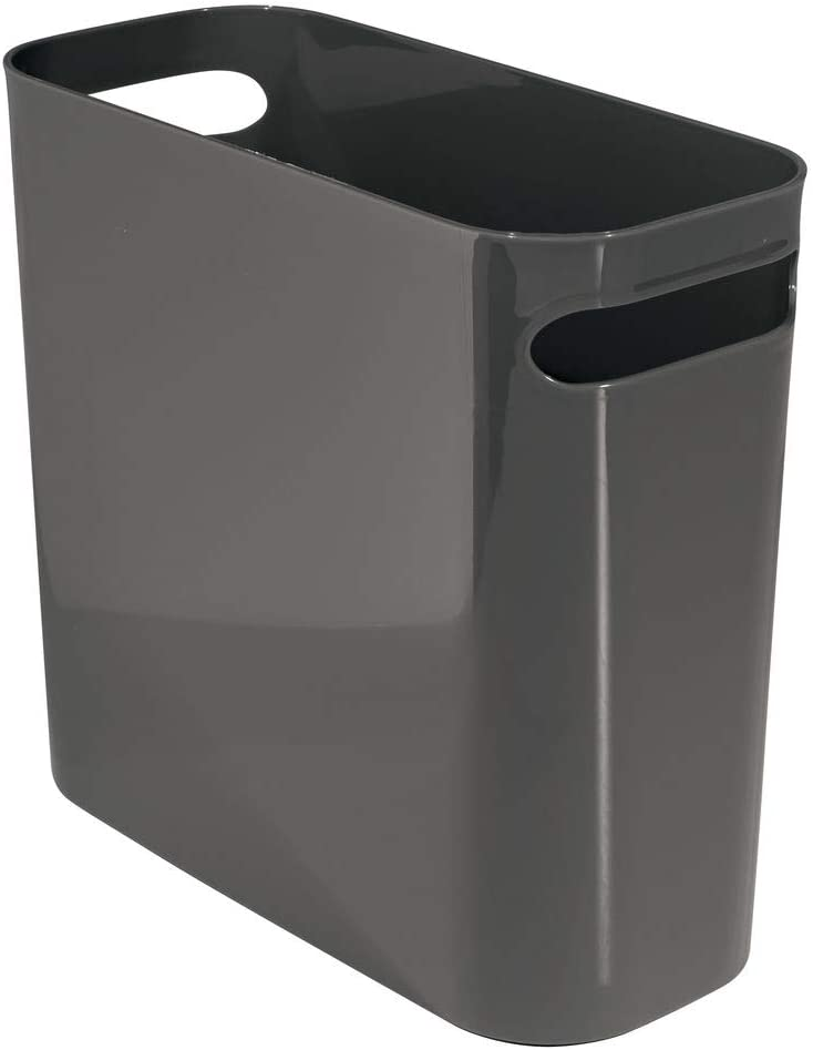 """mDesign Slim Plastic Rectangular Small Trash Can Wastebasket, Garbage Container Bin with Handles for Bathroom, Kitchen, Home Office, Dorm, Kids Room - 10"""" High, Shatter-Resistant - Slate Gray"""