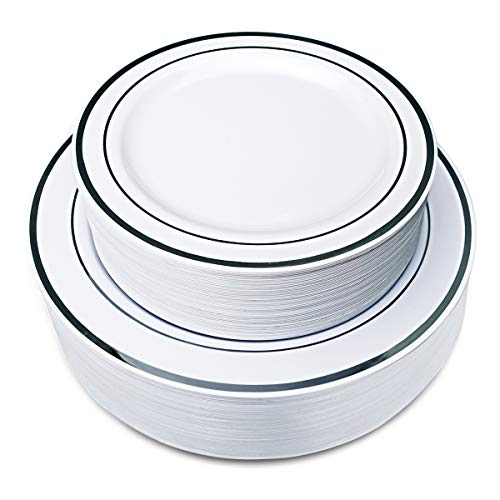 102 Pieces Silver Plastic Plates, White Disposable Plates, China Like Design Silver Plates Includes: 51 Dinner Plates 10.25 Inch and 51 Salad/Dessert Plates 7.5 Inch by IOOOOO