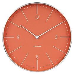 Karlsson Wall Clock, Steel, Orange, One Size
