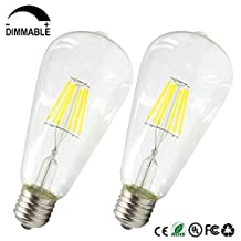Dayker 6 Watt E26/E27 Vintage LED Edison Bulb Medium Base Dimmable ST64 Daylight Lamp Light Equivalent to 55W Incandescent Bulbs(2 Pack)