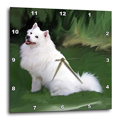 3dRose American Eskimo-Wall Clock, 10-inch (DPP_4177_1), 10