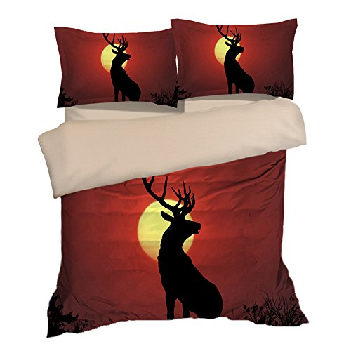 Fantastic Sunset Deer Cotton Microfiber 3pc 104''x90'' Bedding Quilt Duvet Cover Sets 2 Pillow Cases King Size by DIY Duvetcover