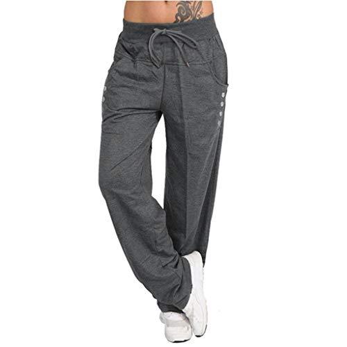 HebeTop Women's Elastic Waist Solid Casual Wide Leg Pants with Pockets Dark Gray