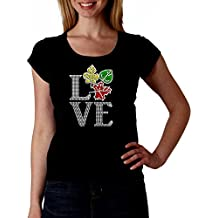Love Fall Leaves RHINESTONE T-Shirt Shirt Tee Bling - Autumn Trees Turning Maple Leaf Leaf Bling road trip color tour photo photos photography nature