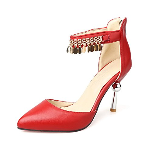 AmoonyFashion Womens Solid Pu High Heels Pointed Closed Toe Zipper Pumps Shoes Red 6u56vCFTBb