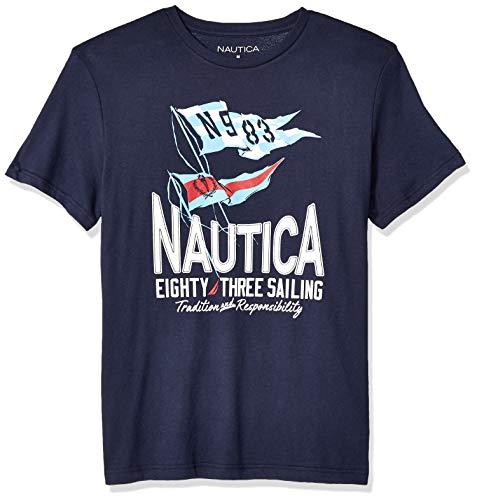 Nautica Men's Short Sleeve Crew Neck 100% Cotton Graphic Sail T-Shirt, Navy Blue, XX-Large