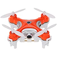 Lcyyo@ CX-10C Mini 2.4Ghz 4CH 6-Axis Gyro Drone RC Quadcopter Helicopter with 0.3MP Camera & Transmitter (Orange)