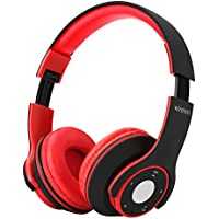 Dulcii Foldable Wireless Bluetooth 4.0 Over Ear Hands-free Call Stereo Headphone Headset with Built-in Microphone, TF Card, FM Radio for Mobile Phone (Black/red)