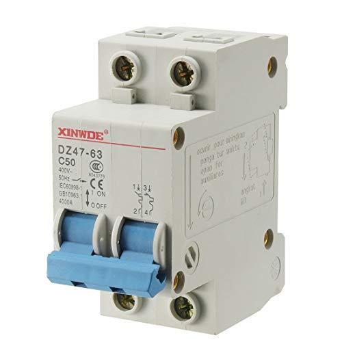 - uxcell 2 Poles 50A 400V Low-voltage Miniature Circuit Breaker Din Rail Mount DZ47-63 C50