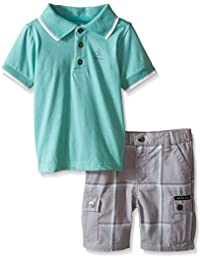 Calvin Klein Baby Boys' Jersey Polo Shirt and Plaid Shorts