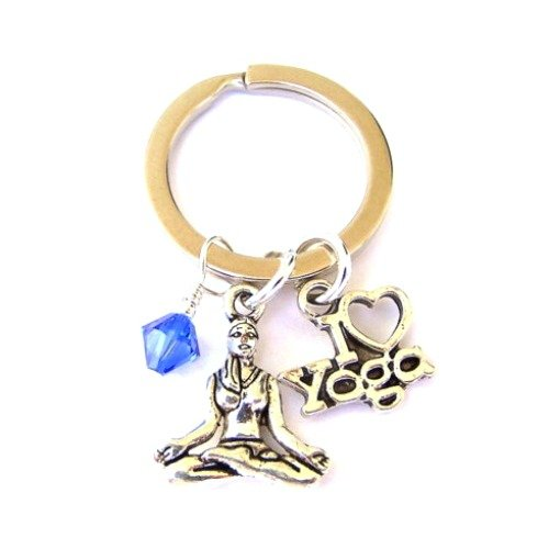 Yoga keyring with crystal birthstone of your choice, spiritual keychain gift