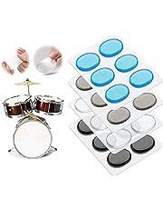 24Pcs Drum Damper Gel Pads for Drums Tone Control Musicians Drummer Enthusiast Beginner Transparent (Transparent Blue Brown Black)