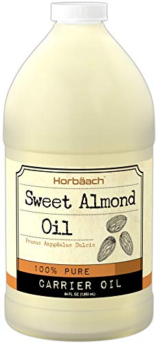 Horbaach Sweet Almond Oil 64 fl oz 100% Pure - for Hair, Face & Skin - Expeller Pressed - Vegetarian, Non-GMO