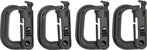 ITW - 4 Pack - BLACK - D-Ring Grimloc Locking for Molle Webbing. USA Made