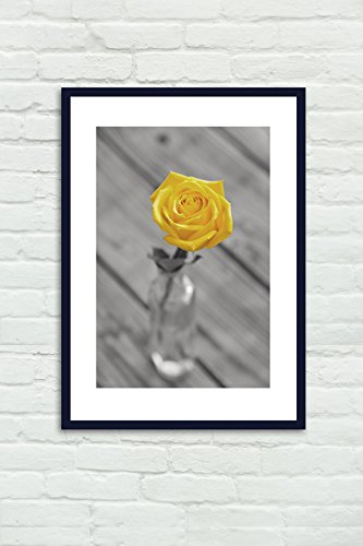Bathroom Decor, Grey and Yellow Flower Photography Print, Bathroom Wall Art, Yellow Rose Modern Picture, Rustic Shabby Cottage Chic Bathroom Artwork, Powder Room Decor, Vertical Print