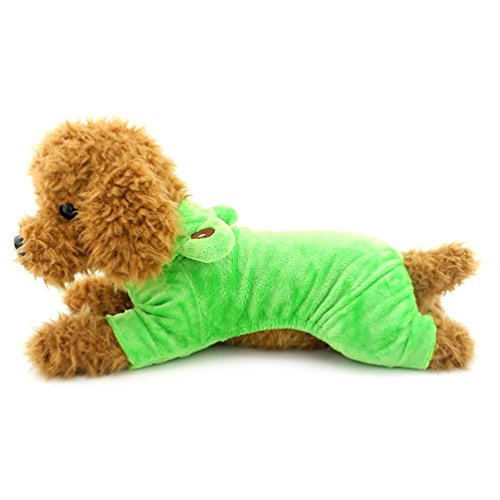 SMALLLEE_LUCKY_STORE XY000046-L Small Dog Velvet Frog Costume for Girls/Boys, Green, Large