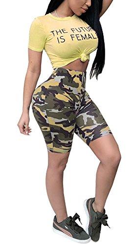 Women Two Piece Outfit Bodycon Jumpsuit Romper Clubwear Camouflage Crop Top Short Pants Set