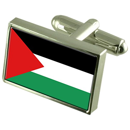 Palestine Sterling Silver Flag Cufflinks by Select Gifts