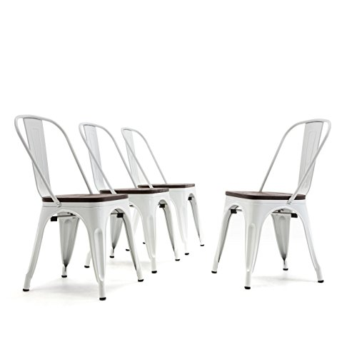 Belleze Set of 4 Wood Seat Restaurant Cafe Bar Stool Modern Style Metal Industrial Stackable Bistro Dining Chairs White