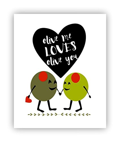Pun Poster Olive Me Loves Olive You 11 x 14 ()