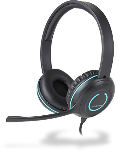 Cyber Acoustics USB Stereo Headset with Headphones and Noise Cancelling Microphone for PCs and Other USB Devices in the Office, Classroom or Home (AC-5008) (Usb Cyber Desktop Acoustics)