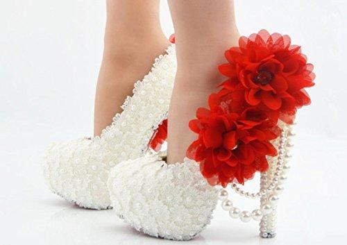 YCMDM scarpe da sposa Large Size Ultra High con il vestito da sposa rotonda scarpe da damigella d'onore del locale notturno Lace Bianco Fiore Rosso , 8 cm with high reservation , 36