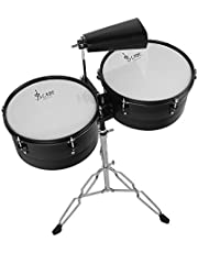 """RuleaxAsi Latin Percussion 13"""" & 14"""" Timbales Drum Set with Stand and Cowbell"""
