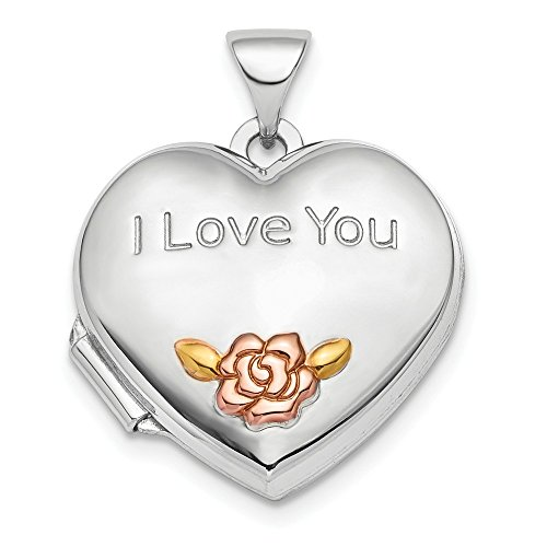 Jewelry Pendants & Charms Lockets Sterling Silver Rhodium-plate Rose and Gold-tone Flower I Love You Locket