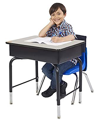 """ECR4Kids 24"""" x 18"""" Adjustable Open Front Student Desk with Metal Book Box, Grey and Black"""