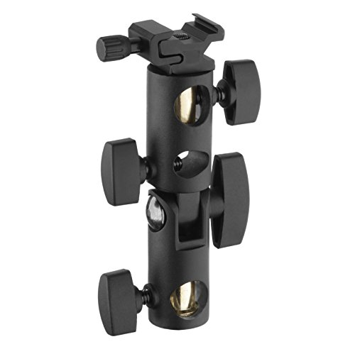 """Impact Deluxe Flash Umbrella Mount Bracket with Adjustable Cold Shoe Mount and Stud Adapters, Supports Up to 60"""" Photography Umbrellas - Tilt and Swivel Umbrella Bracket and Flash Mount - DUB-2"""