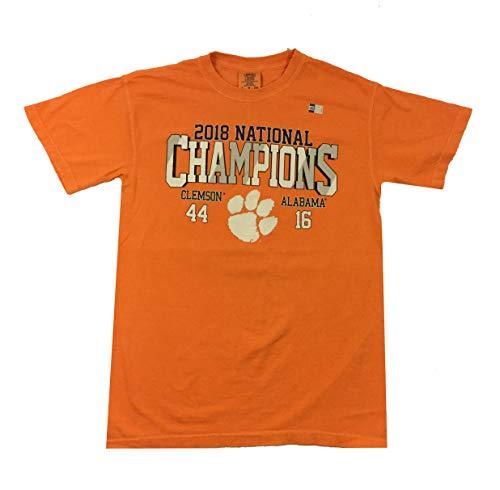 timeless design 35fb2 0e744 Image One Clemson Tigers Helmet Score National Champions Short Sleeve  T-Shirt-XL Burnt Orange